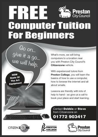 JPEG Citizenzone Computer Tuition A5 Flyer Compressed with Border